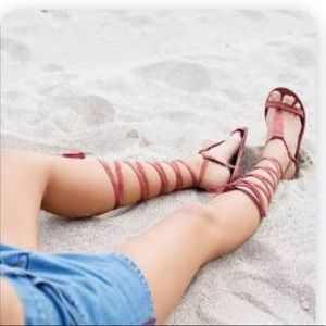 Free People Red Dahlia Lace Up Gladiator Sandals
